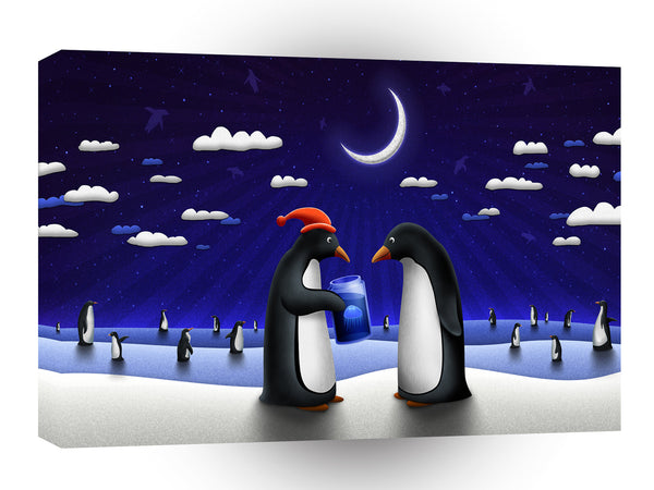Abstract Animals Penguin Xmas Gifts A1 Canvas