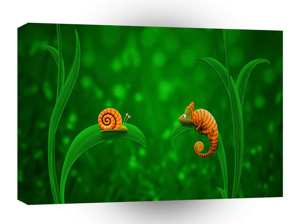 Abstract Animals Snail Chameleon Friends A1 Canvas