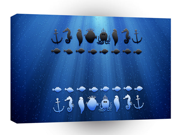 Abstract Animals Underwater Chess Game A1 Canvas