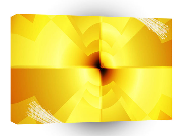 Abstract Bright Yellow Kaleidoscope A1 Xlarge Canvas