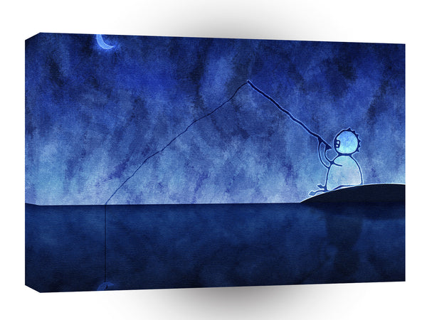 Abstract Cartoon Fishing For The Moon A1 Canvas