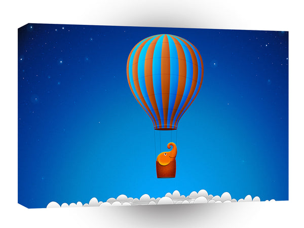 Abstract Cartoon Hot Air Elephant Balloon A1 Canvas
