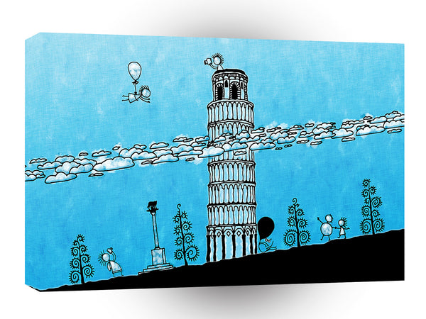 Abstract Cartoon Leaning Tower Pisa A1 Xlarge Canvas