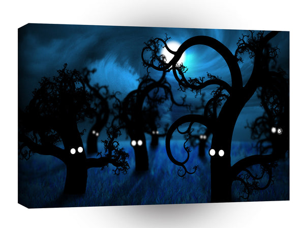 Abstract Cartoon Midnight Creepy Forest A1 Xlarge Canvas