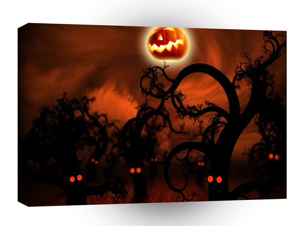 Abstract Cartoon Midnight Forest Halloween A1 Xlarge Canvas
