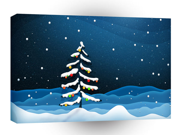 Abstract Cartoon Noel Xmas Tree Winter A1 Xlarge Canvas