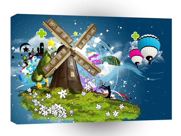 Abstract Cartoon Windmill Magic A1 Xlarge Canvas