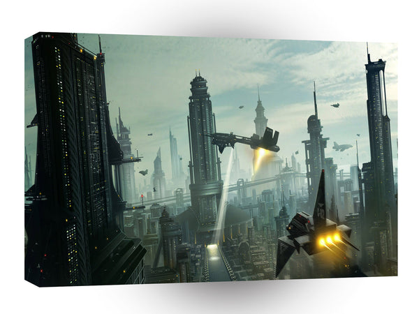 Abstract City Flying Kingdom A1 Xlarge Canvas