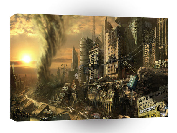 Abstract City Left Ruins A1 Xlarge Canvas