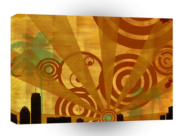 Abstract City Retro Bright Alive A1 Xlarge Canvas
