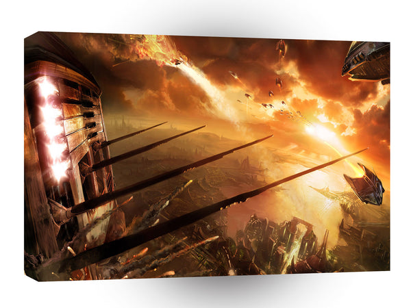 Abstract City Space Battle A1 Xlarge Canvas