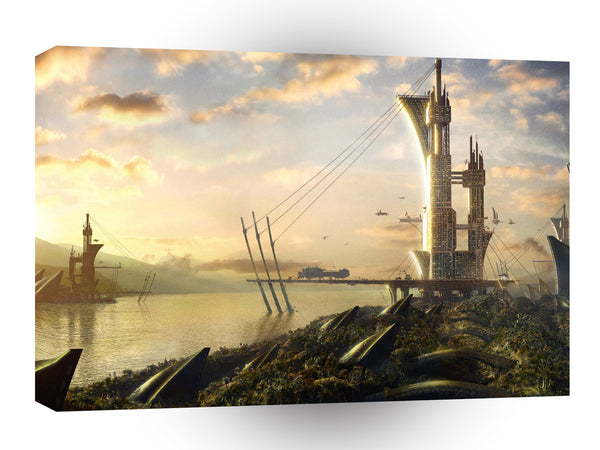Abstract City Water World A1 Xlarge Canvas