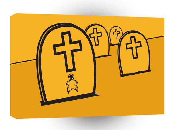 Abstract Everyday Yellow Grave Stones A1 Xlarge Canvas