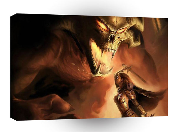 Abstract Fantasy Assasin Vs Firedemon A1 Xlarge Canvas