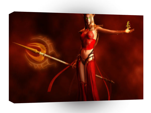Abstract Horror Blood Elf Warrior Girl A1 Xlarge Canvas
