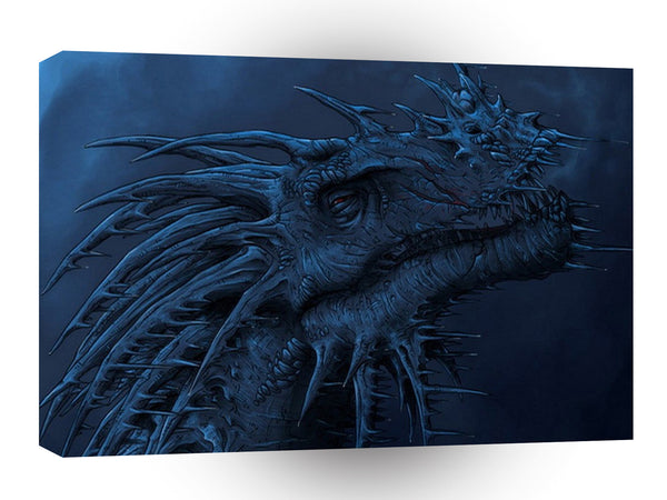 Abstract Horror Blue Mist Dragon A1 Xlarge Canvas