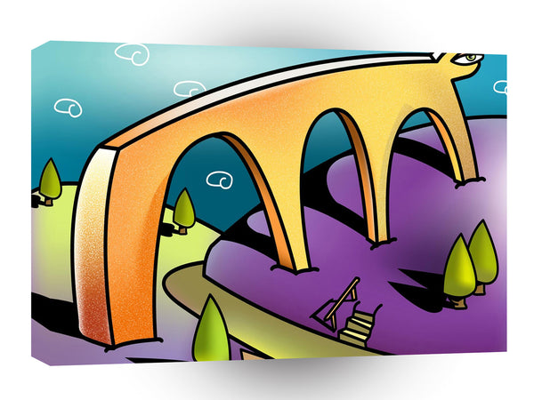 Abstract Landscape Bridge Of Fun A1 Xlarge Canvas