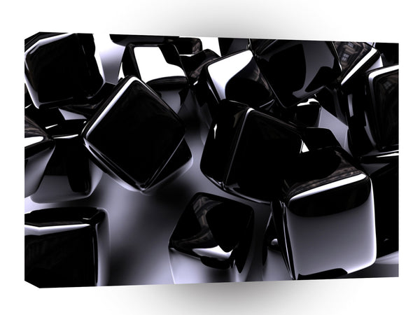Abstract Shape Black Cubes Jewels A1 Xlarge Canvas