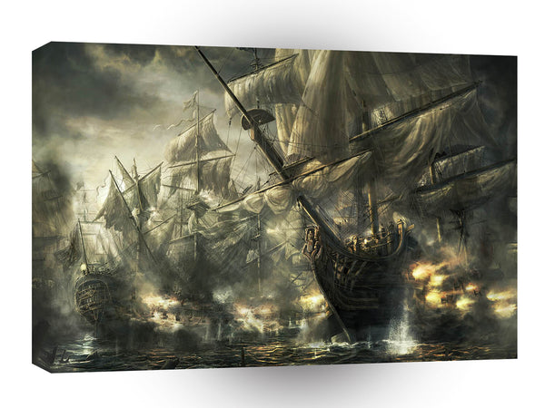 Abstract Transport Battle Pirateships A1 Xlarge Canvas