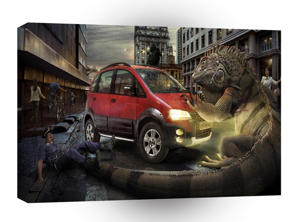Abstract Transport City Giant Lizard Smash A1 Xlarge Canvas