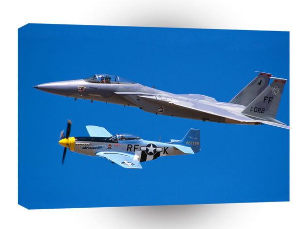 Air Power F 15 Eagle And P 51 Mustang A1 Xlarge Canvas
