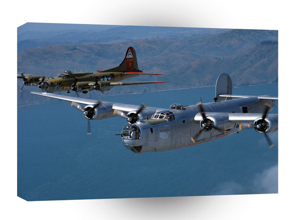 Air Power Smooth Sky B24 And B17 A1 Xlarge Canvas