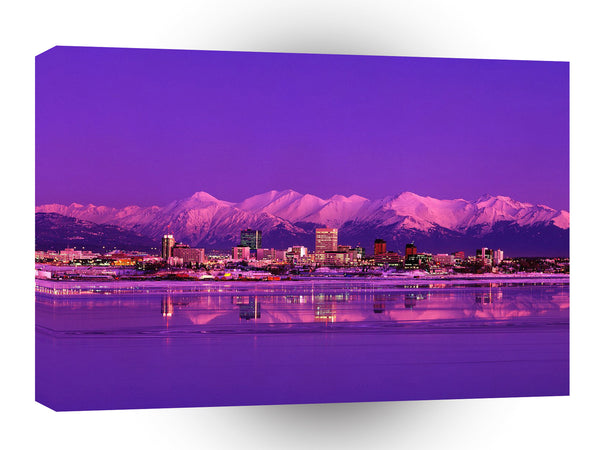 Alaska Anchorage Skyline Evening A1 Xlarge Canvas