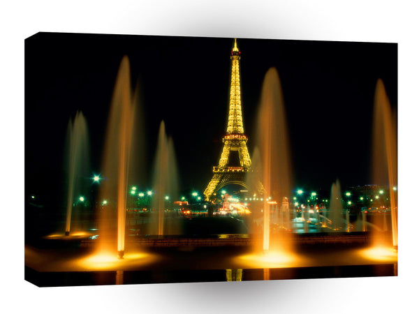 Architecture Eiffel Tower At Night Paris France A1 Xlarge Canvas