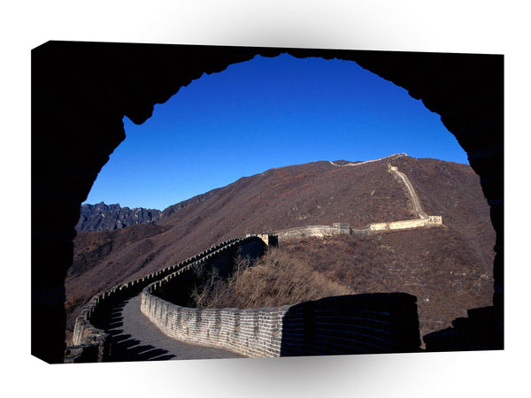 Architecture Emerging Onto The Great Wall Of China A1 Xlarge Canvas