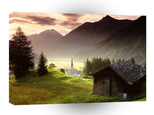 Austria Misty Mountain Village Tyrol A1 Xlarge Canvas