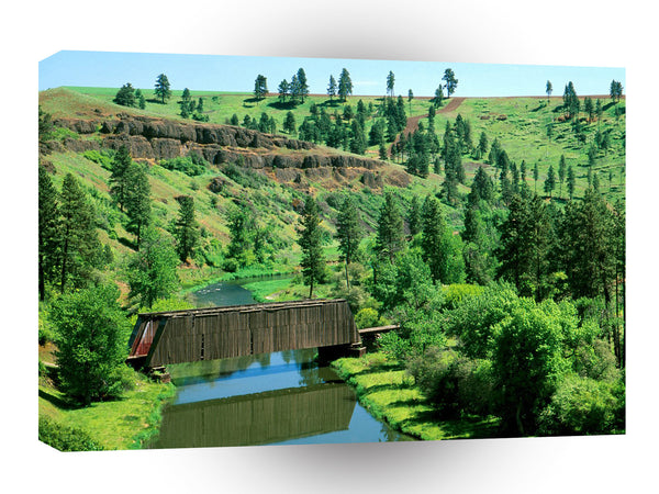 Bridges Covered Bridge Palouse Farm Country A1 Xlarge Canvas