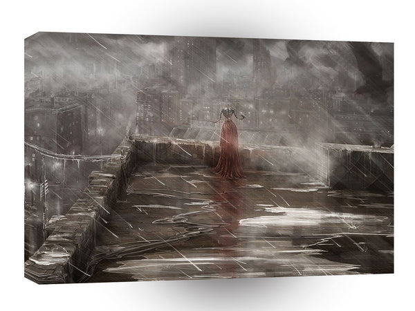 City Nightime Roof Top Girl A1 Xlarge Canvas