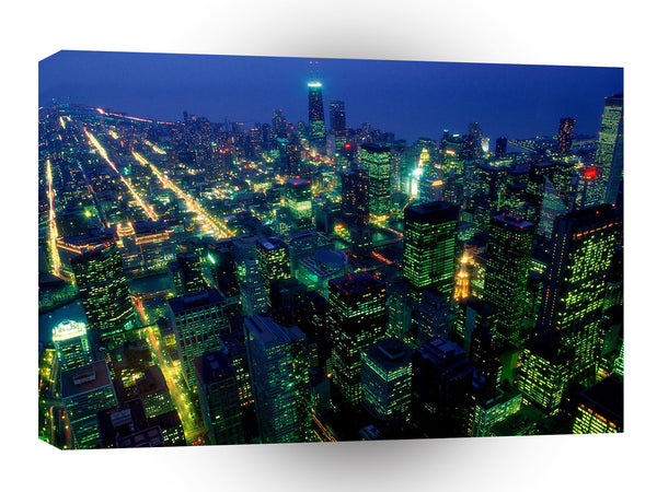Cityscapes After Dark In Chicago Illinois A1 Xlarge Canvas