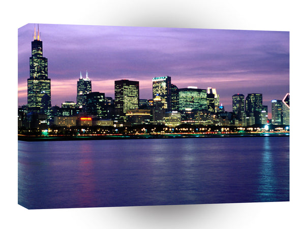 Cityscapes After Hours Chicago Skyline Illinois A1 Xlarge Canvas