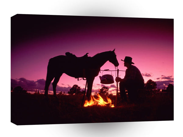 Cowboy Horse Quiet Moment A1 Xlarge Canvas