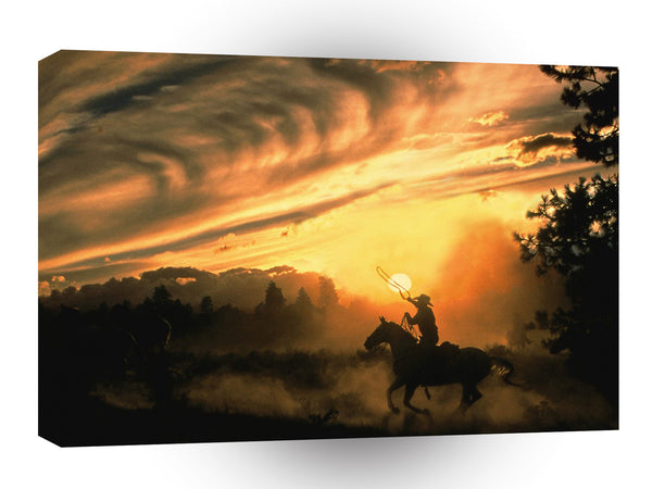 Cowboy Roping The Wind A1 Xlarge Canvas