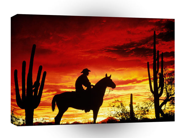 Cowboy Sunset Crimson A1 Xlarge Canvas