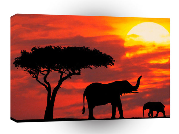 Elephant Silhouetted At Sunrise Kenya A1 Xlarge Canvas