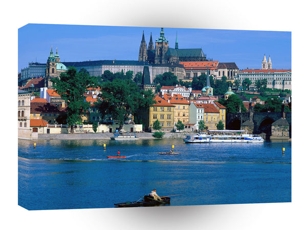 Europe Sightseeing By A River Prague Czech A1 Xlarge Canvas