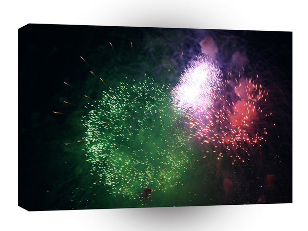 Fireworks Green Colourful Celebration A1 Xlarge Canvas