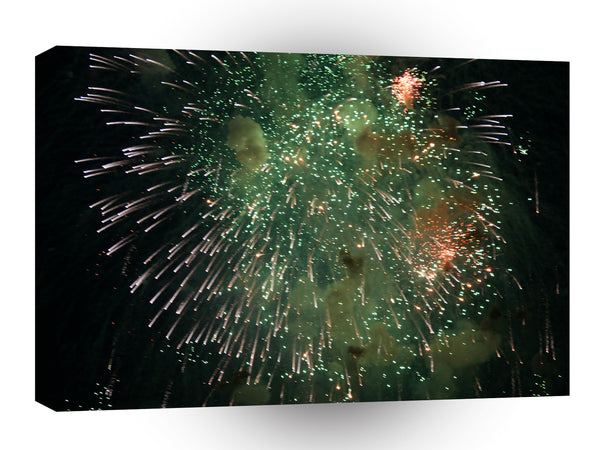 Fireworks Green Colourful Shower A1 Xlarge Canvas