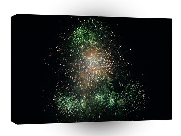 Fireworks Green Colourful Tower A1 Xlarge Canvas