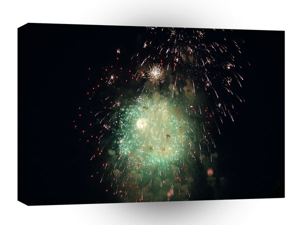 Fireworks Green Explosion Colour A1 Xlarge Canvas