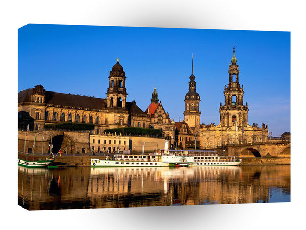 Germany Elbe River Dresden Germany Night Dusk A1 Xlarge Canvas