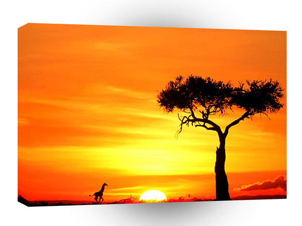 Giraffe Running East Africa A1 Xlarge Canvas