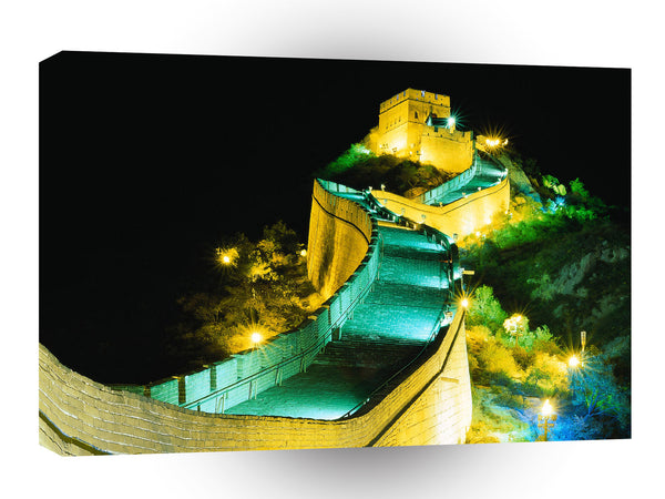 Great Wall Blue Yellow Night A1 Xlarge Canvas