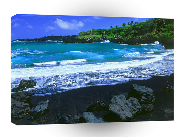 Hawaii Black Beach Maui A1 Xlarge Canvas