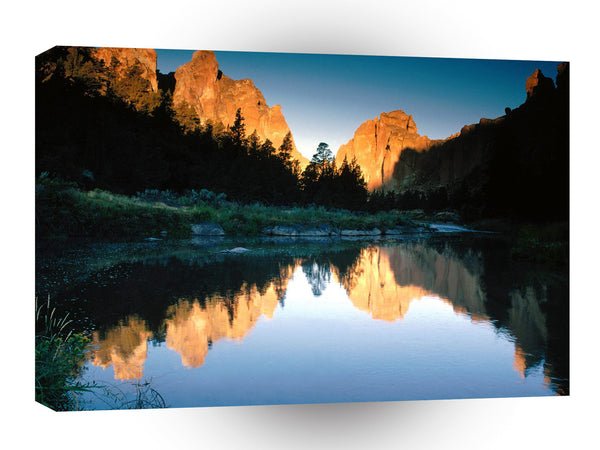 Lake Autumn Reflections Smith Rock State Park Oregon A1 Xlarge Canvas
