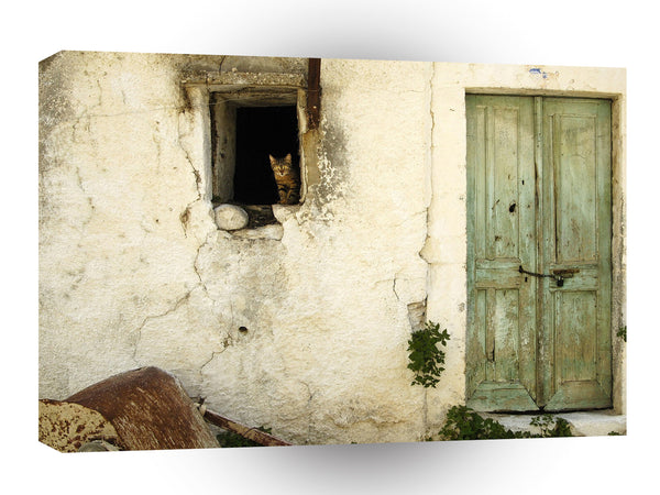 Landscape Old House Door Cat A1 Xlarge Canvas