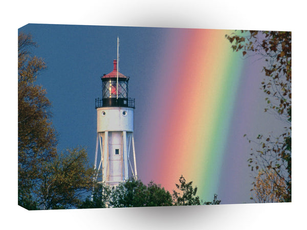 Lighthouses At The Foot Rainbow A1 Xlarge Canvas